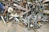 image of scrap-iron  - Pile of scrap metal pieces on a pile recycling concept - JPG