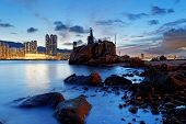 picture of tong  - Hong Kong water bay and lighthouse at sunset - JPG