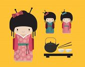 stock photo of japan girl  - Cute kokeshi doll in kimono with traditional japanese food - JPG