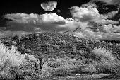 stock photo of thunderhead  - Monochrome Desert storm over the southwestern desert and mountains - JPG