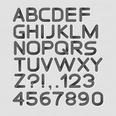 picture of glyphs  - Paper black strict alphabet rounded - JPG