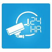 foto of cctv  - cctv on operation 24 hours symbol on blue square button - JPG