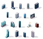 stock photo of isometric  - Vector isometric city center buildings set - JPG
