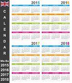 picture of weekdays  - English calendar 2015 - JPG