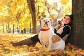 image of dog park  - young woman relaxing in autumn park with dogs - JPG
