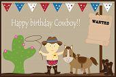 stock photo of baby cowboy  - Happy birthday cowboy horse cactus baby boy - JPG