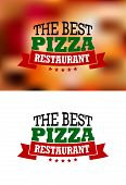 image of hot fresh pizza  - Italian best pizza restaurant logo - JPG