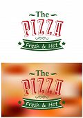 picture of hot fresh pizza  - Italian fresh and hot pizza poster on white or blur background for fast food and restaurant design - JPG