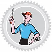 picture of rosettes  - Illustration of an electrician worker holding screwdriver and electric plug set inside rosette shape on isolated white background done in cartoon style - JPG
