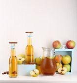 picture of cider apples  - Still life with tasty apple cider and fresh apples - JPG