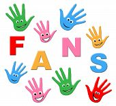 stock photo of youngster  - Fans Kids Showing Social Media And Youngsters - JPG