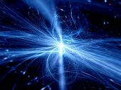 stock photo of higgs boson  - Blue glow rays in space abstract background - JPG