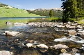 picture of beartooth  - Beartooth Lake along the Beartooth Highway in Wyoming - JPG
