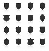 pic of shield  - Set of different shield shapes icons with reflection - JPG
