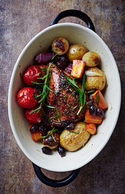 picture of pot roast  - Herb roast pork with roast vegetables - JPG