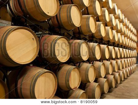 Stack Of Oak Wine Barrels