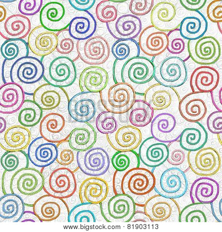 Loopy swirly spirals fun spiral pattern seamless repeating colorful painting