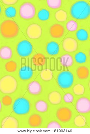 Spring Day Polka Dots fun colorful hand painted pop art polkadot seamless repeating pattern