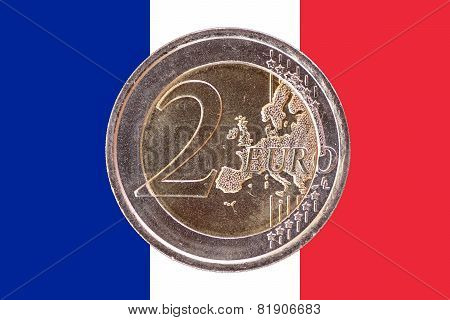 Common Face Of Two Euro Coin On Flag Of France