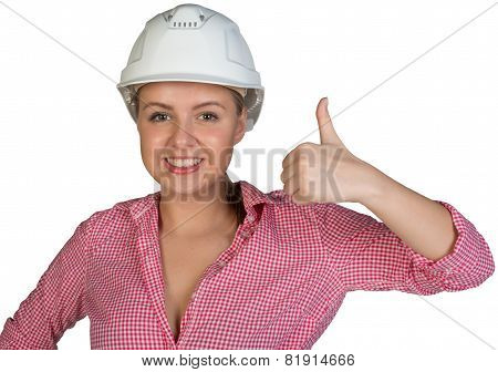 Woman in hard hat showing thumb-up
