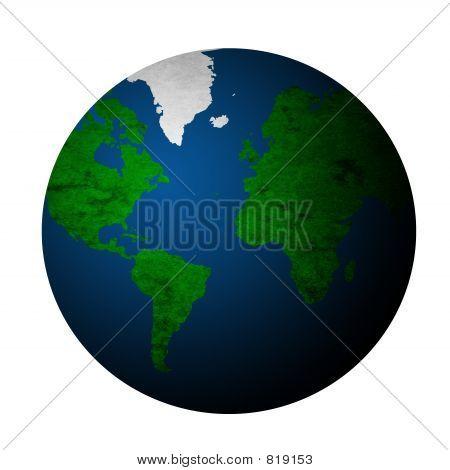 Textured Planet Earth - White Bg