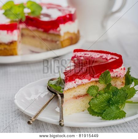 Piece Of Strawberry Cake Jelly On White Background