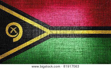 Vanuatu flag on burlap fabric