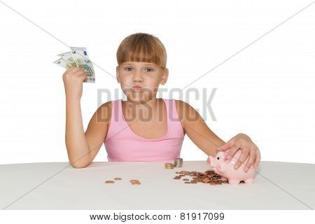 Little  Girl With Money  Isolated