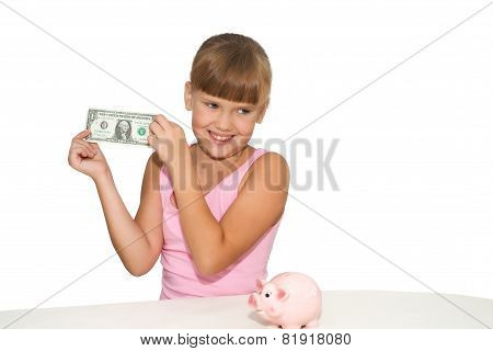 Lovely Girl With Money In Hands Isolated