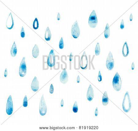 blue watercolor rain drop Vector illustration