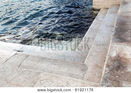 Stepsr Submerged At High Tide In Venice In Italy