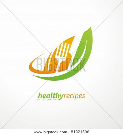 Leaf shape with knife and fork in negative space