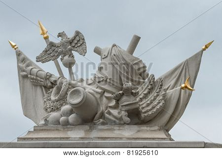 Baroque Composition Of The Military Elements Of Stone On A Background Of The Sky In Slovakia