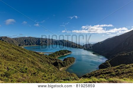 Beautiful View Of The Lake In Crater Volcano Covered With Forests