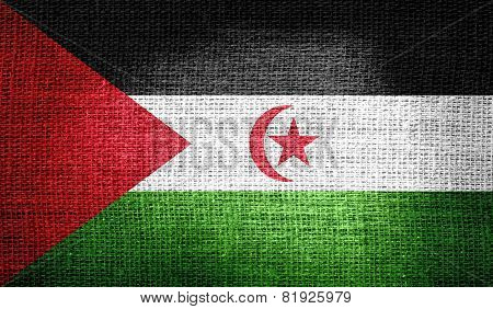 Western Sahara flag on burlap fabric