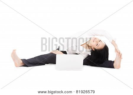 Cheerful Office Woman With Laptop Doing Yoga Pose On White Background