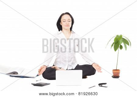 Young Business Woman Resting In Lotus Pose In Front Of Laptop On White Background
