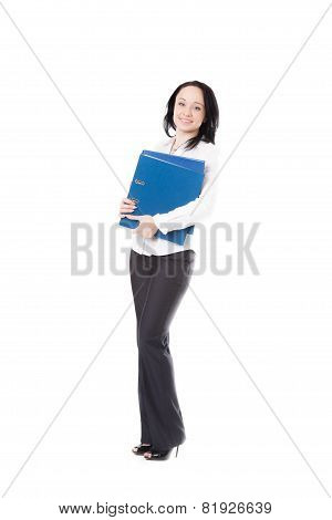 Young Office Woman Holding Document Folders On White Background