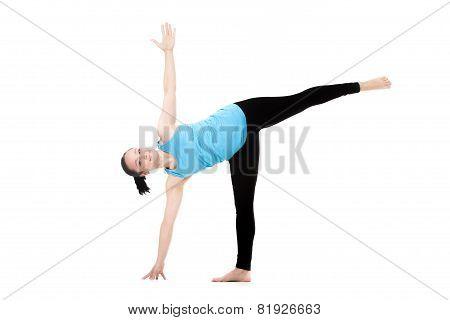 Yogi Female In Yoga Pose Ardha Chandrasana