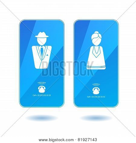 Icons of dialing mister and missis on screen