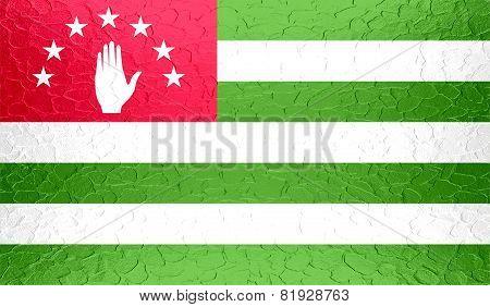 Abkhazia flag on metallic metal texture