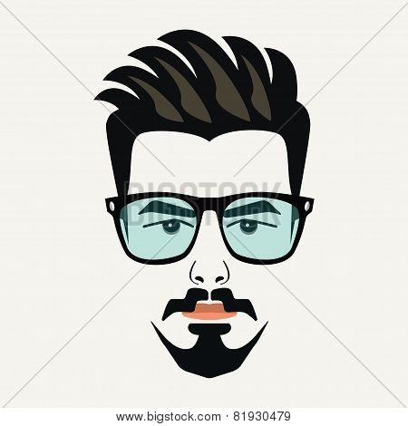 Goatee beard young hipster male with highlighted hair and blue lenses glasses
