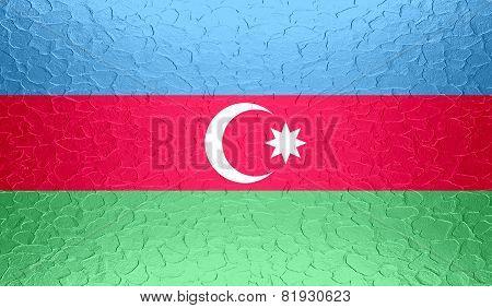 Azerbaijan flag on metallic metal texture