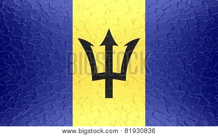 Barbados flag on metallic metal texture