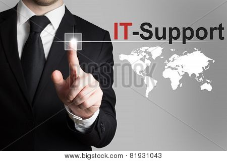 Businessman Pushing Button It Support Worldmap