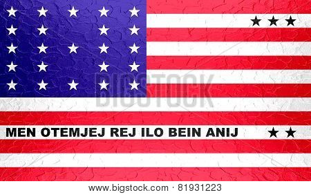 Bikini Atoll flag on metallic metal texture