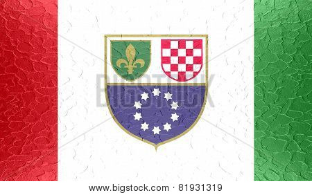 Federation of Bosnia and Herzegovina flag on metallic metal texture