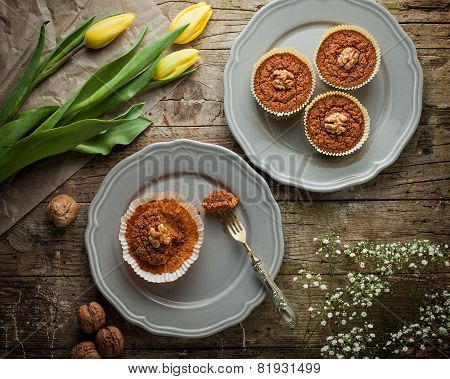 Carrot Muffins With Walnut