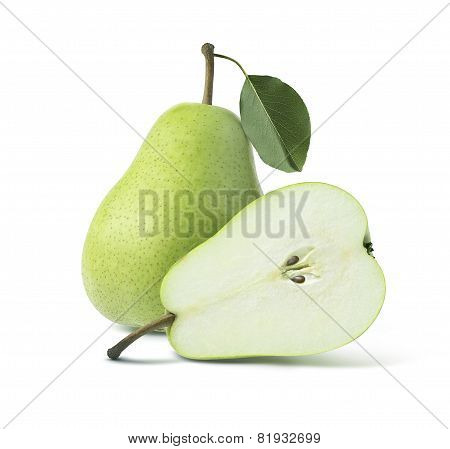 Two Green Pears Whole Half Isolated On White Background
