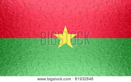 Burkina Faso flag on metallic metal texture